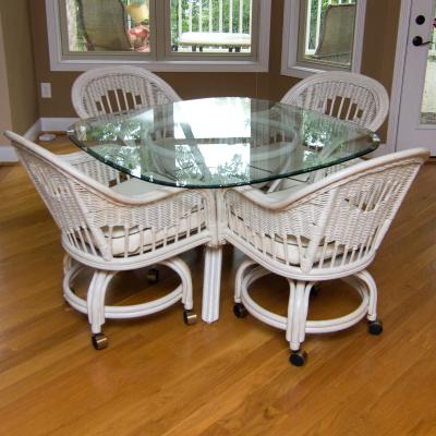schloemer furniture glass top table with wicker armchairs on wheels schloemer furniture amelia