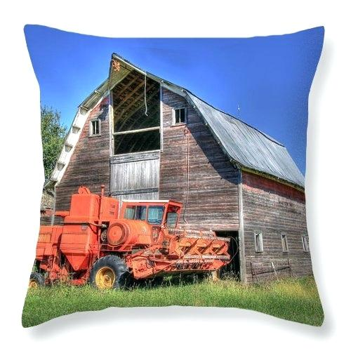 massey furniture barn combine harvester beans throw pillow featuring the photograph vintage masseys furniture barn sand street watertown ny